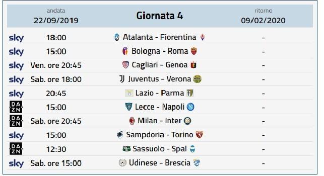 Calendario Partite Milan 2020.Calendario Serie A Prossimo Turno Serie A 4 Giornata