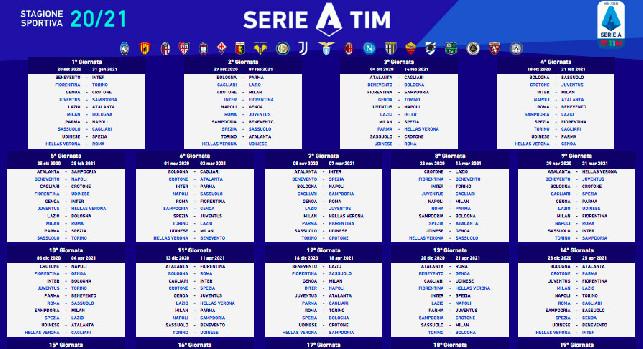 Calendario Serie A 2020/21: tutte le giornate