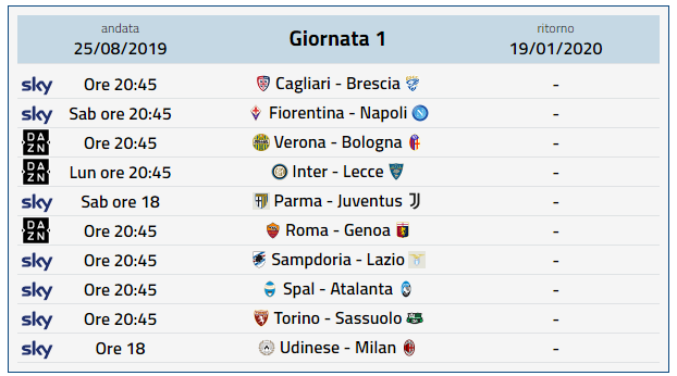 Calendario Serie A 2020 - 1 Giornata
