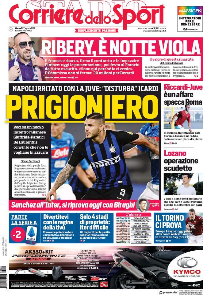 Prima Pagina Corriere dello Sport 22/08/2019