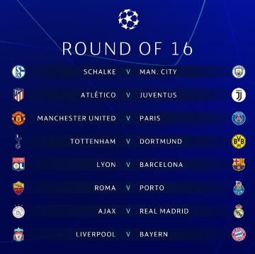 Champions League ottavi di finale, Diretta