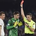 """Napoli-Juve, la moviola di Gazzetta: """"Giusta l'espulsione di Meret: corretta la decisione di non andare al VAR di Rocchi"""""""