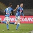Il Napoli fa 2-2 al 78': buona la combinazione tra Younes e Mertens, in rete il numero 14