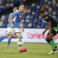 Napoli-Sassuolo 2-0, le statistiche: gli ospiti primeggiano per possesso palla, ma gli azzurri tirano di più [GRAFICO]