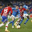 RILEGGI DIRETTA - Napoli-Granada 2-1 (3' Zielinski, 25' Montoro, 59' Fabian): fischio finale di Siebert. Azzurri eliminati dall'Europa League