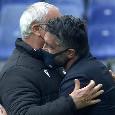 Non è il solito saluto tra Ranieri e Gattuso: colpisce l'espressione di Ringhio