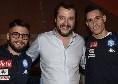 """Salvini: """"Voglio venire al San Paolo per la Champions, attendo l'invito di ADL. Insigne e Callejon bersagliati per una foto con me"""""""
