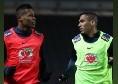 Brasile, Allan con Alex Sandro durante la seduta di allenamento [FOTO]