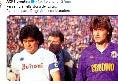 """Morte Maradona, la Fiorentina sui social: """"Per sempre nella storia del calcio.  Riposa in pace, Diego"""" [FOTO]"""