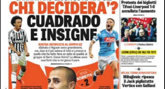 FOTO - La Gazzetta dello Sport in prima pagina: Cannavaro gioca Juve-Napoli