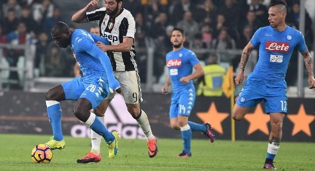 RILEGGI LIVE - Juventus-Napoli 2-1 (50' Bonucci, 54' Callejon, 70' Higuain): finita, gli azzurri perdono a Torino con i bianconeri che vanno a +7