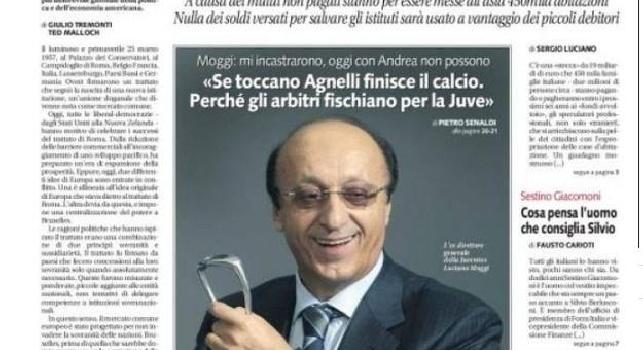 Prima pagina Libero, Moggi: Se incastrano Agnelli come hanno fatto con me il calcio crolla