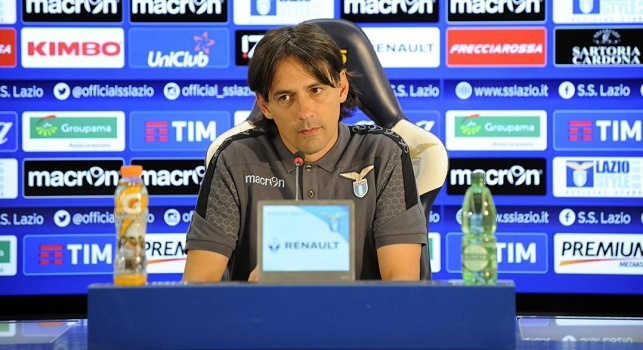 Simone Inzaghi, allenatore della Lazio, in conferenza stampa da Formello