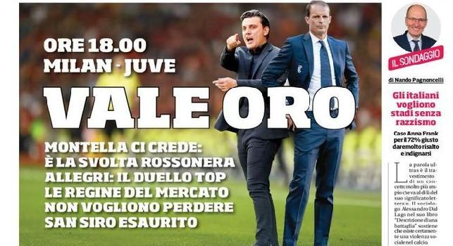 Corriere dello Sport, in prima pagina: Milan-Juve, vale oro [FOTO]