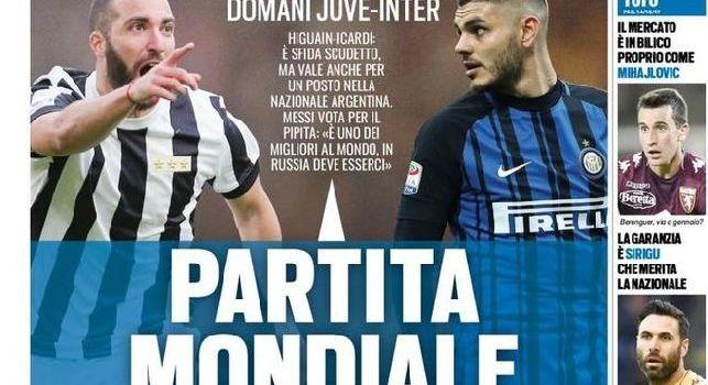 Tuttosport in prima pagina snobba il Napoli: Domani Juve-Inter, partita mondiale. E' sfida scudetto [FOTO]