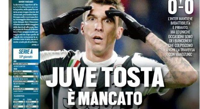 Tuttosport, la prima pagina: Juve è mancato il gol: Napoli contro la viola per riprendersi il primo posto