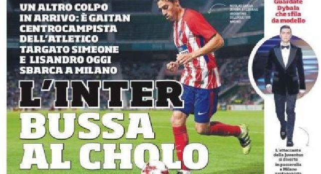 CorSport in prima pagina: L'Inter bussa all'Atletico per Gaitan [FOTO]