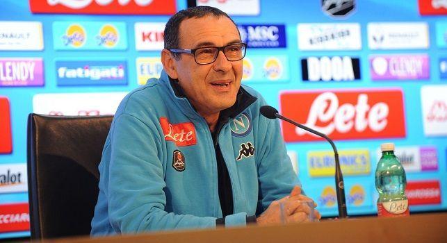 Maurizio Sarri, attuale tecnico del Napoli, in conferenza stampa