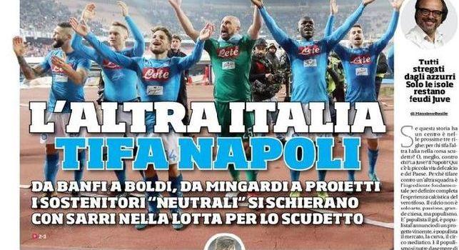 Corriere dello Sport, la prima pagina: L'altra Italia tifa Napoli [FOTO]