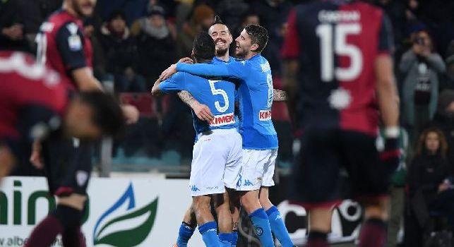 Cagliari-Napoli, i precedenti: 32 i precedenti in Sardegna, rossoblu in vantaggio 9 successi a 8