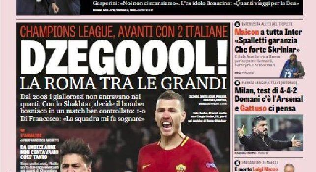 La prima pagina della Gazzetta dello Sport: Juve, prove di fuga: se batte l'Atalanta, lascia il Napoli a -4 [FOTO]
