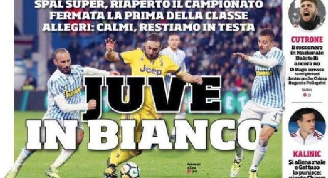 Prima Pagina Corriere dello Sport: Juve in bianco, occasione Sarri: il Napoli può risalire a -2 [FOTO]