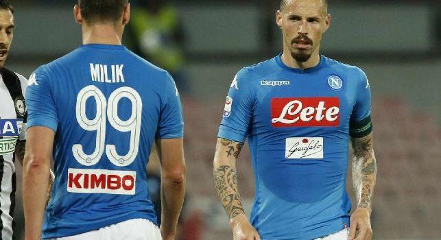Milik e Hamsik in Napoli-Udinese