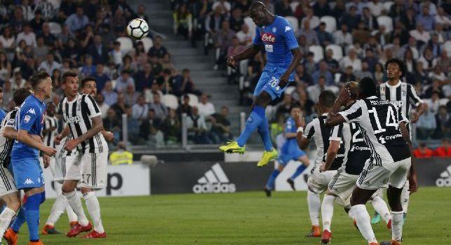 Koulibaly in gol in Juventus-Napoli all'Allianz Stadium