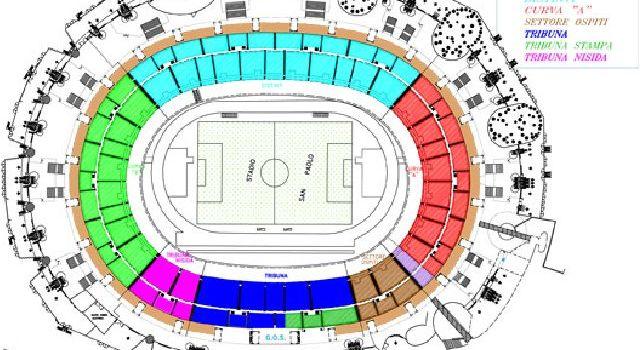 Stadio San Paolo, piantina: il cronoprogramma dei lavori con relative chiusure dei settori