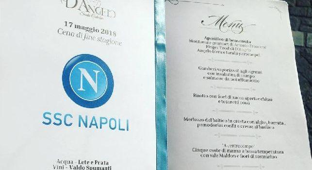 SSC Napoli, il menù della cena di fine stagione a Villa D'Angelo: torta augurale a forma di Vesuvio  [FOTO]