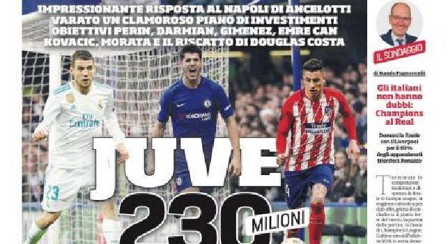 Corriere dello Sport, la prima pagina: Juve, 230 milioni! Impressionante risposta al Napoli di Ancelotti [FOTO]