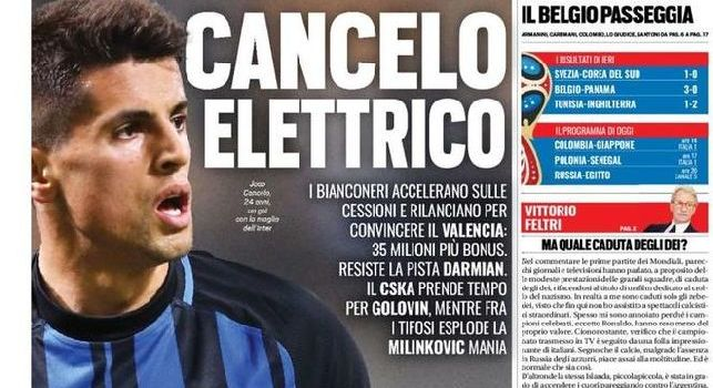 La prima pagina di TuttoSport: Cancelo elettrico. Juventus pronta a sborsare 35 mln per il terzino del Valencia [FOTO]