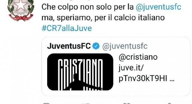 Ministero delle Infrastrutture su Twitter: Che colpo Ronaldo alla Juve, poi arrivano le scuse... [FOTO]