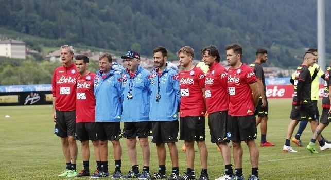 Dimaro, staff di Carlo Ancelotti in campo a Carciato