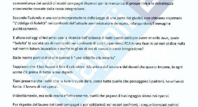 Gli operai della Fiat scrivono a Cristiano Ronaldo: Non ce l'abbiamo con te, ma lo stipendio te lo paghiamo noi [FOTO CN24]