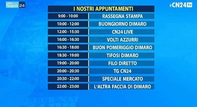 CalcioNapoli24 TV, il palinsesto giornaliero: oggi seduta singola, prima di Napoli-Chievo c'è la messa del Cardinale Sepe