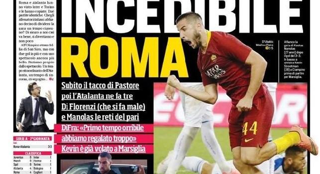 La prima pagina del Corriere dello Sport del 28 agosto 2018