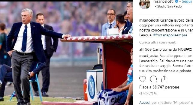 Ancelotti esulta su Instagram: Grande lavoro di squadra, ora concentrazione alla Champions. Forza Napoli Sempre [FOTO]