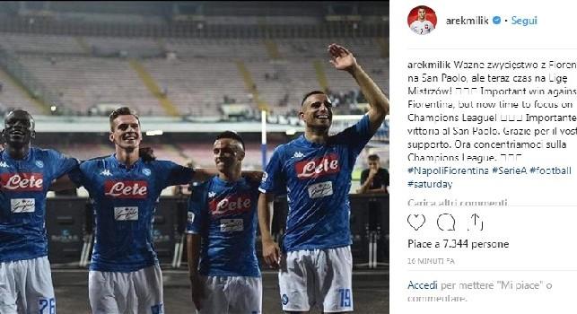 Milik su Instagram: Importante vittoria al San Paolo, grazie per il vostro supporto. Ora la Champions [FOTO]