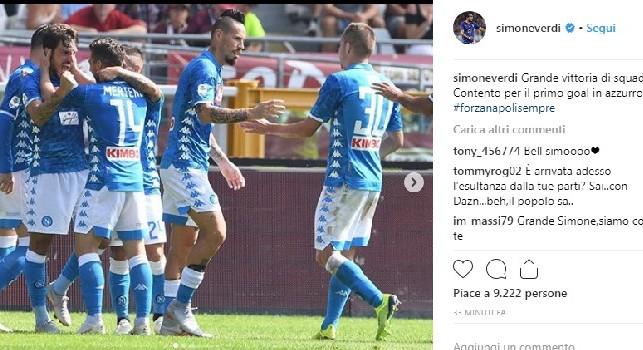 Verdi su Instagram: Grande vittoria di squadra! Contento per il primo goal in azzurro