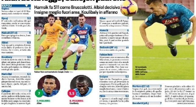 Napoli-Roma, pagelle Corriere dello Sport