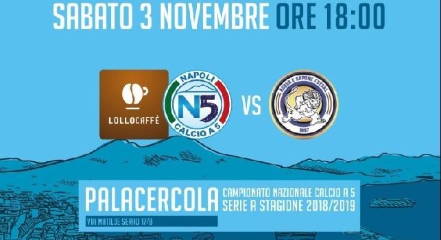 Calcio a 5 serie A, oggi Lollo Caffè Napoli-Acqua e Sapone in diretta alle 18 su Fb e CalcioNapoli24TV canale 296 DTT Campania