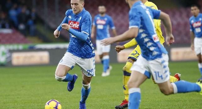 Piotr Zielinski in azione con la maglia del Napoli
