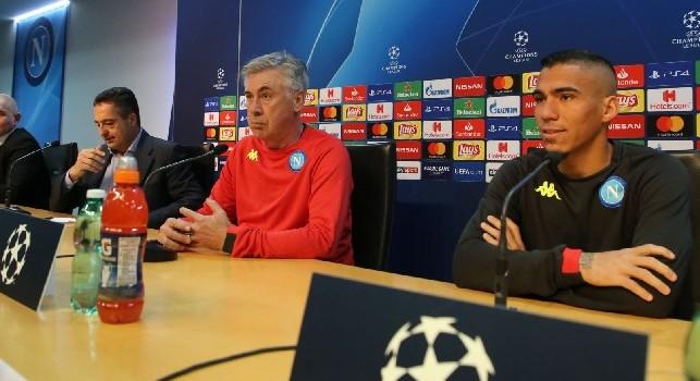 Carlo Ancelotti e Marques Allan in conferenza stampa per Napoli-Stella Rossa, foto CN24: Ciro De Luca