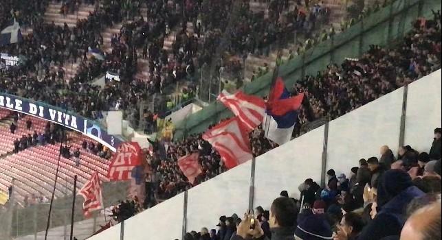 Tifosi Stella Rossa allo stadio San Paolo in SSC Napoli - Crvena Zvezda