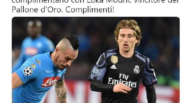 Ancelotti, Aurelio ed Edo De Laurentiis ed i calciatori del Napoli si complimentano con Modric per la vittoria del Pallone d'Oro: il tweet della società azzurra [FOTO]
