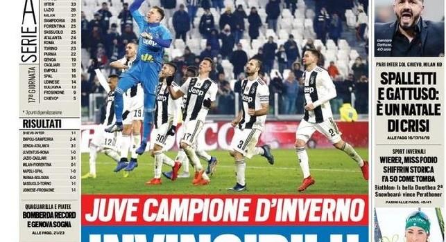 Prima Pagina: Corriere, Gazzetta, Tuttosport, Il Mattino - 23 dicembre 2018