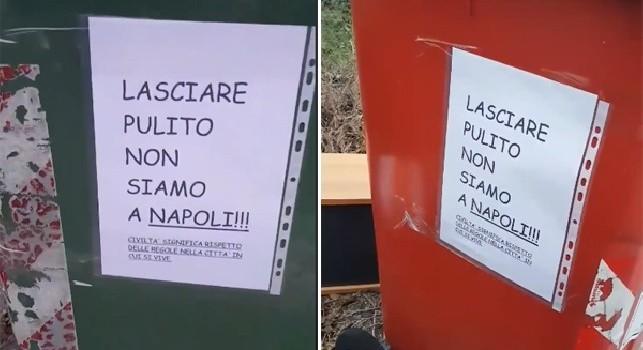 Tenere pulito, non siamo a Napoli messaggio razzista sui bidoni dell'immondizia a Pordenone [VIDEO]