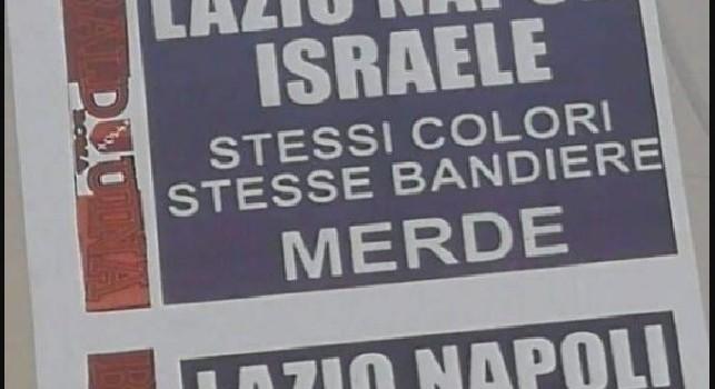 Volantini choc a Roma: Lazio, Napoli, Israele. Stessi colori, stesse bandiere. M***e [FOTO]