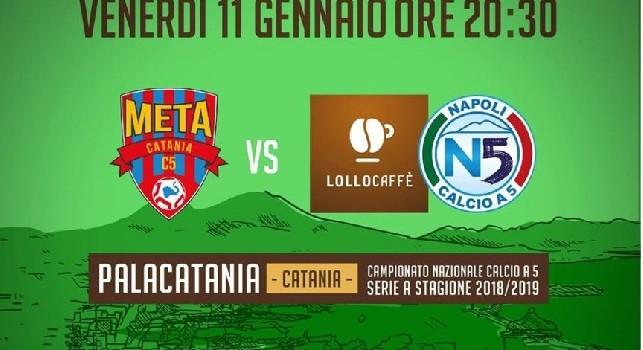 Serie A Calcio a 5, Meta Catania-Lollo Caffè stasera in diretta alle 20.30 su CalcioNapoli24TV canale 296!